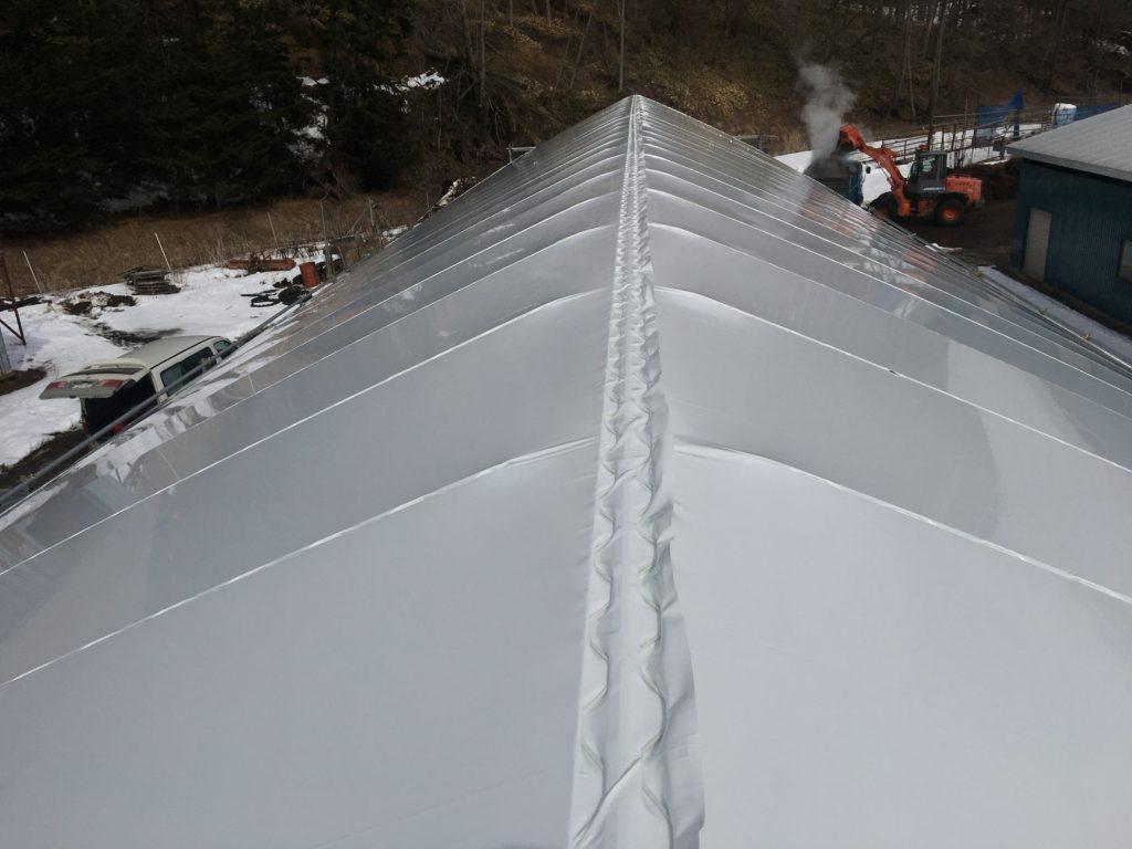 パイプ倉庫 屋根ビニール張り完了