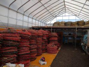 漁業用倉庫内 単管の棚作成